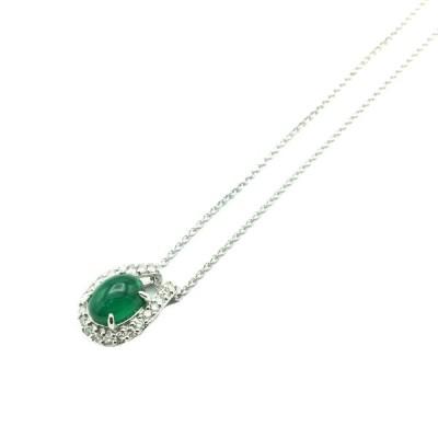 ジュエリー エメラルド ネックレス レディース 緑系 K18WG(750)×エメラルド( 1.518ct)×ダイヤモンド(0.26ct)  ランクA