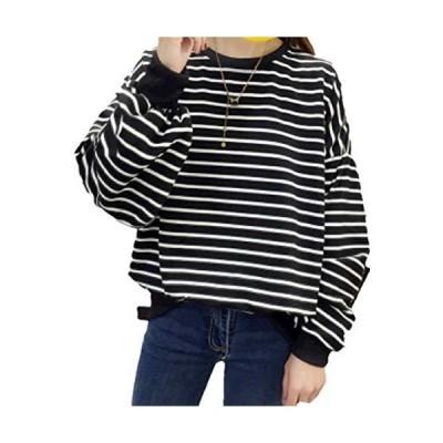 [アルバフィカ] レディース ボーダーライン シャツ トップス 長袖 シンプル デザイン (L, ブラック)ゆったりトロミ コンプレッション