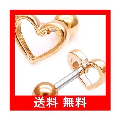 【16G 】ゴールド ボディピアス 軟骨ピアス オープンハート 光沢感 が大人可愛い METALHEART シンプル メタル ヘリックス ロブ ゲー