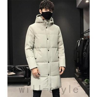ダウンコートメンズロングダウン暖かいフードコート冬防寒服紳士