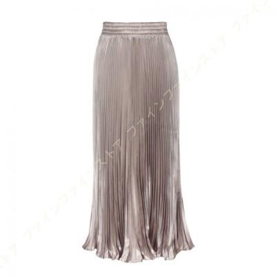 チュールスカート ロング スカート フレアスカート プリーツスカート シアースカート ミディアム 光沢感 フィッシュテールスカート ウエストゴム