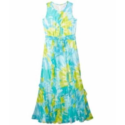 カルバンクライン レディース ワンピース トップス Printed Maxi Dress w/ Double Ruffle Ocean/Marg