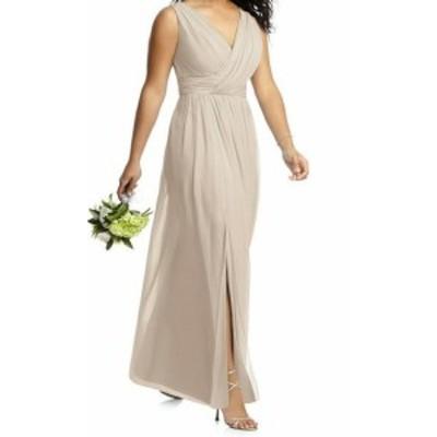 Dessy Collection ドレッシーコレクション ファッション ドレス Dessy Collection NEW Beige Womens Size 12 Pleated Chiffon Sheath Dre