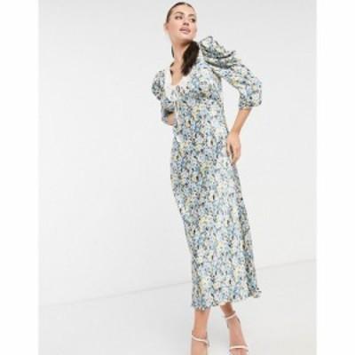 ゴースト Ghost レディース ワンピース ミドル丈 ワンピース・ドレス Essie Midi Dress With Collar Detail In Blue Floral ブループリン