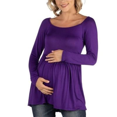 24セブンコンフォート レディース シャツ トップス Long Sleeve Square Neck Empire Waist Maternity Tunic Top