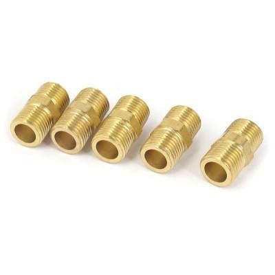 uxcell 六角ニップル コネクタ 空気圧パイプ 空気燃料ガス クイックアダプタ 真鍮材質 5個入り