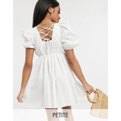ワイ エー エス Y.A.S Petite レディース ワンピース ミニ丈 ワンピース・ドレス Y.A.S. Petite strap detail mini smock dress in white ブライトホワイト
