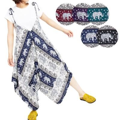 エスニック サロペット ゾウ柄 レディース 5カラー 夏 ファッション アジアン サルエルパンツ 涼しい かわいい ゆったり 大きめ お家時間