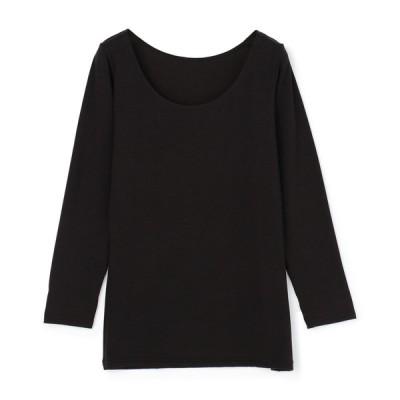 ムレにくく暖かいインナー ボディヒーター レディース セブンプレミアムライフスタイル ボディヒーター 婦人 8分袖シャツ ブラック M