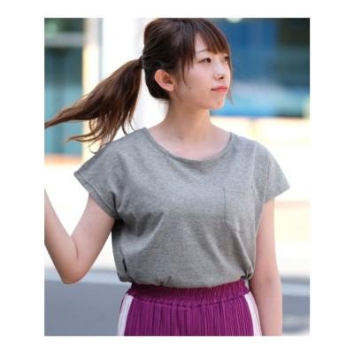 アンドジェイ ANDJ 汗染み防止加工フレンチスリーブポケットTシャツ (グレー)