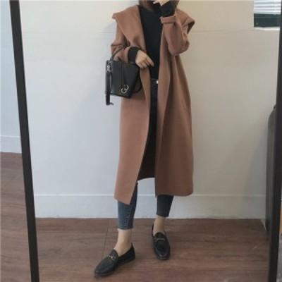コート ロングコート 無地 黒 フード付き シンプル カジュアル ゆったり 体型カバー yi408