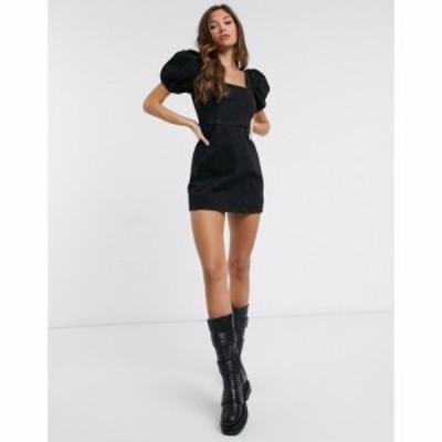 エイソス ASOS DESIGN レディース ワンピース デニム ウォッシュ加工 ミニ丈 Denim Puff Sleeve Square Neck Mini Dress In Washed Black