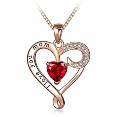 Mother's Birthday Gift I Love You Mom Rose Gold Plated Sterling Silver Heart Pendant Necklace for Women