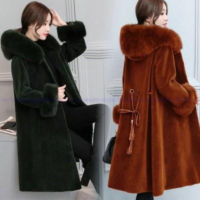 コート ロング丈 レディース アウター ロングコート 大きいサイズ ポンチョ風 防寒 秋冬コート ファー付き 体型カバー 着痩せ 30代 40代 大きいサイズ