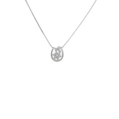 K18WG フラワー ダイヤモンドネックレス