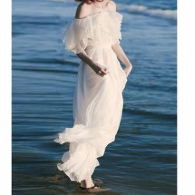 激安 大人気 オフショルダー ウェディングドレス 白 二次会 花嫁 カラードレス ウェディング 白 ワンピース ドレス ロングドレス