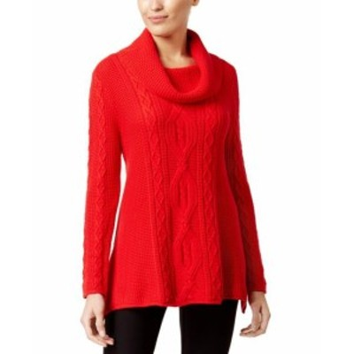 Pierre  ファッション トップス Jeanne Pierre NEW Red Womens Size Small S Knitted Cowl Neck Sweater
