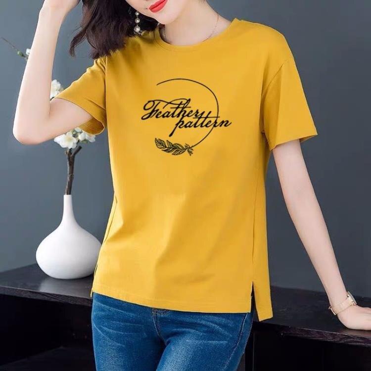 「樂天優選」印花上衣 短袖女t恤今年流行女裝棉印花大碼百搭汗衫夏裝洋氣