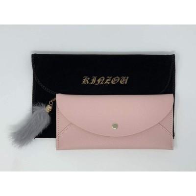 レディース 長財布 薄型 スリム ファー ウォレット 3種類 (ピンク)