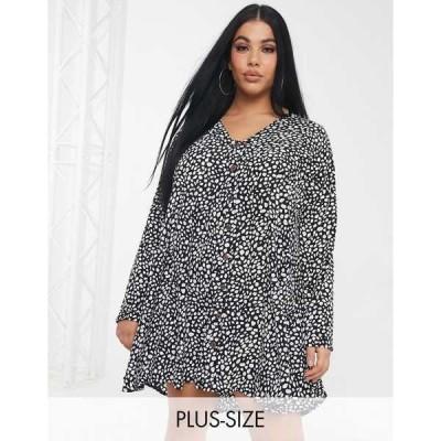 ミスガイデッド レディース ワンピース トップス Missguided Plus button through smock dress in polka dot print Multi