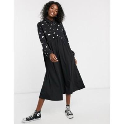 エイソス レディース ワンピース トップス ASOS DESIGN embroidered shirt smock dress in black Black