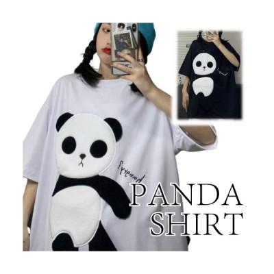 Tシャツ トップス 半袖 アニマル パンダ レディース かわいい カジュアル ホワイト ブラック