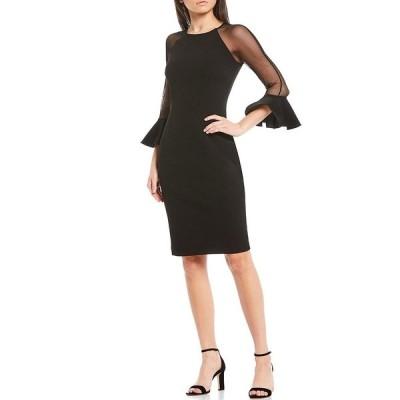 エリザジェイ レディース ワンピース トップス Illusion 3/4 Bell Sleeve Stretch Crepe Sheath Dress Black