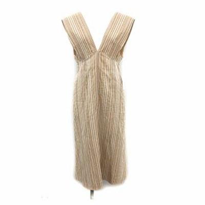 【中古】未使用品 マメクロゴウチ 20AW Ribbon Stripe V Neck Dress ワンピース ノースリーブ Vネック 1 S ベージュ