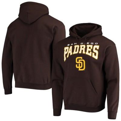 """メンズ パーカー """"San Diego Padres"""" Stitches Team Logo Pullover Hoodie - Brown"""
