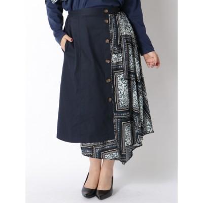 【大きいサイズ】【3-7L】スカーフ柄コンビスカート 大きいサイズ スカート レディース