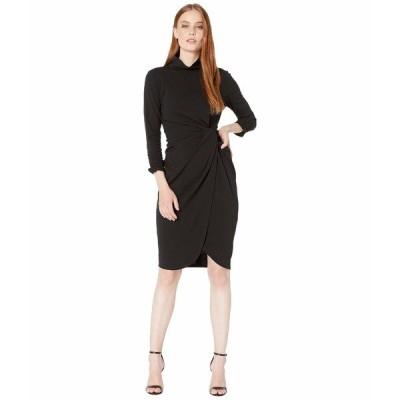 タハリ ワンピース トップス レディース Stretch Crepe Mock Neck Dress with Side Wrap and Cinched Sleeve Detail Black