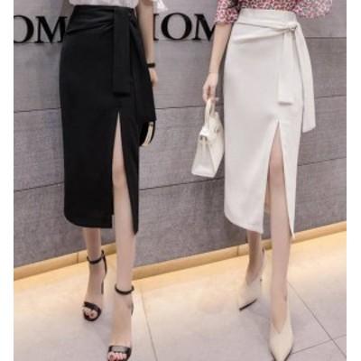 韓国 ファッション レディース ロングスカート タイトスカート スリット 大きいサイズ リボン エレガント きれいめ 大人可愛い セクシー