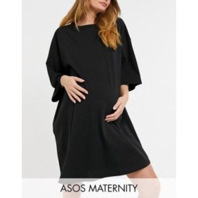 エイソス レディース ワンピース トップス ASOS Design Maternity oversized T-shirt dress in black Black