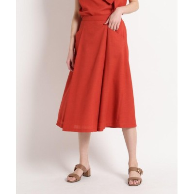 SunaUna(スーナウーナ) 【洗える】リネンライク ツイルスカート