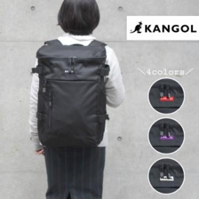 KANGOL カンゴール スクエアリュック サイドポケット 黒 パソコンリュック 背面ポケット 背面ファスナー キーフック