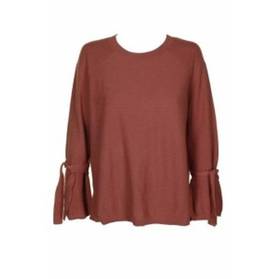 Earth アース ファッション トップス Vince Camuto Earth Pink Cotton Raglan Bell-Sleeve Textured Crew Neck Sweater S