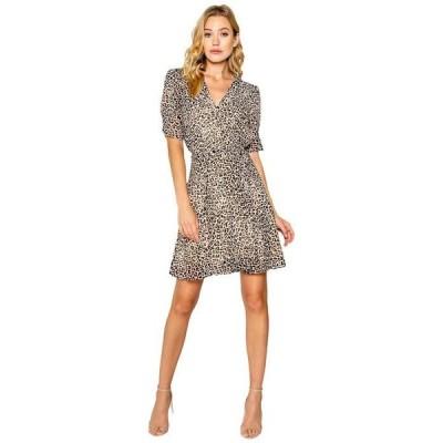 ラベンダーブラウン レディース ワンピース トップス Mini Cheetah Printed Short Sleeve Wrap Dress