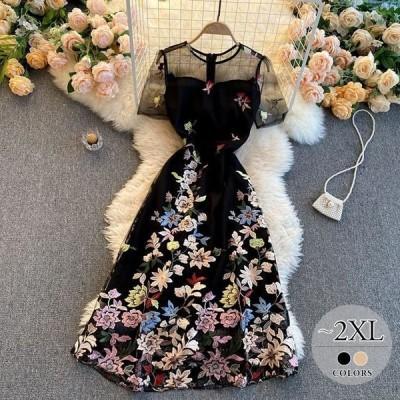 ラウンドネックワンピース総柄花柄ブラック透け感フェミニン刺繍リモート大人可愛い可愛いかわいい休日スタイルリゾート