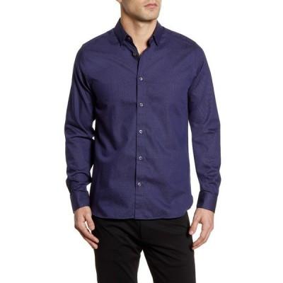 テッドベーカー シャツ トップス メンズ Whyme Slim Fit Dot Button-Up Shirt Navy