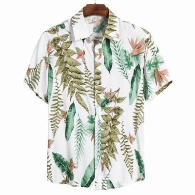 ハワイアンメンズシャツストリートヴィンテージエスニックスタイル印刷レトロルーズ半袖シャツ男性は襟カジュアルブラウストップ