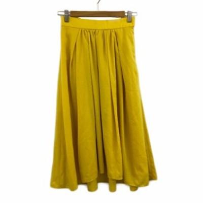 【中古】プラステ PLST スカート フレア ギャザー ロング フィッシュテール 無地 S 黄 イエロー レディース