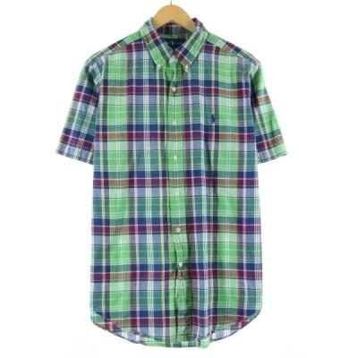 ラルフローレン Ralph Lauren 半袖 ボタンダウンチェックシャツ メンズL /eaa143570