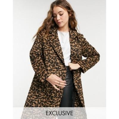 ウェンズデーガール レディース コート アウター Wednesday's Girl tailored coat in leopard print