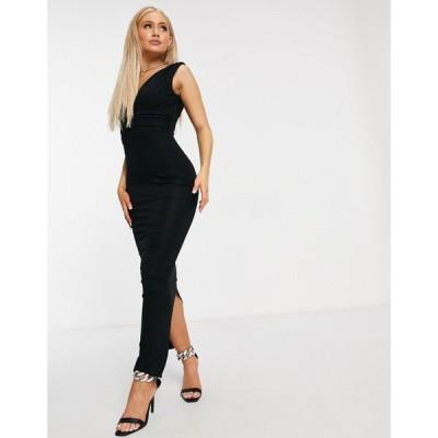 エイソス ASOS DESIGN レディース ワンピース マキシ丈 ワンピース・ドレス Plunge Waisted Maxi Dress ブラック