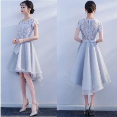 ミニドレス パーティードレス ミニ ドレス ワンピース 袖あり ウエストリボン フィッシュテール 大きいサイズ