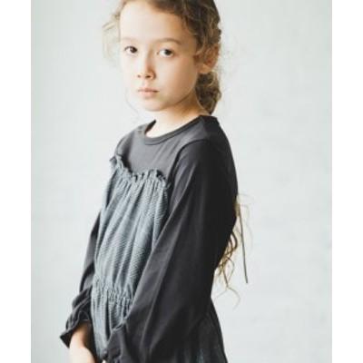 子供服 チェック柄 ドット柄 ビスチェ ドッキング 長袖 ワンピース || 女の子 男の子 ベビー キッズ ドレス