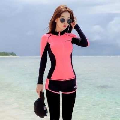 ラッシュガード 長袖 ツートン ジップアップ 大人可愛い フェミニン カジュアル シンプル 夏 ビーチ プール ダイビング サーフ シュノーケリング RG-0019