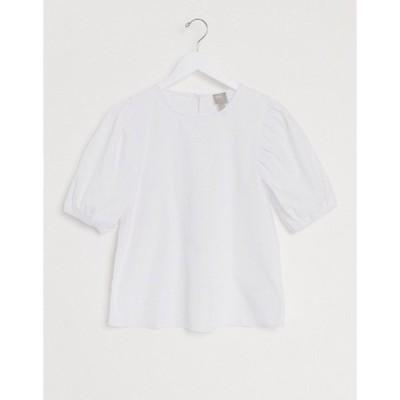 エイソス レディース シャツ トップス ASOS DESIGN short puff sleeve top in cotton white