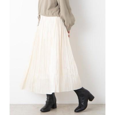 スカート WEGO/ミルキーサテンプリーツロングスカート