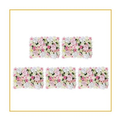 homozy 5Pcs Artificial Flower Wall Wedding Backdrop Hanging Decor Props for Wedding Banquet Arrangement Shop Window Decor, Pink White【並